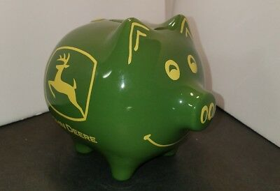 John Deere Ceramic Green/Yellow Pig Piggy Bank Licensed Product New without Box