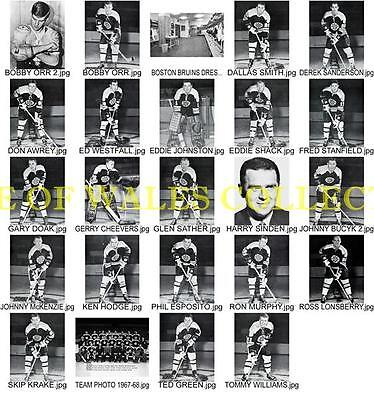 1967-68 Boston Bruins Player Photos With Team Photo....lot Of 24-4X6 Photos