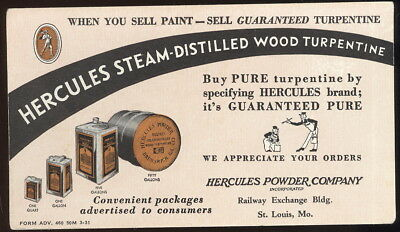 1930S Hercules Powder Co. Ink Blotter Advertising Hercules Wood Turpentine