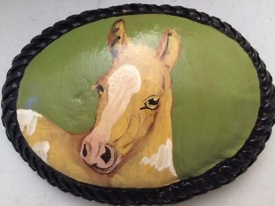 Vintage Horse Hand Painted Leather Belt Buckle