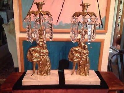 Antique Victorian Couple Pair Brass Bronze Candle Holders w/ Crystals