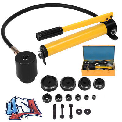 """15ton 1/2"""" to 4 1/2"""" Hydraulic Knockout Punch Kit Hand Pump 10 Dies Tool w/ Case"""