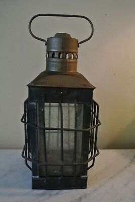 """Antique BRASS Ships Lantern cage glass  11"""" x 4""""   Weathered"""