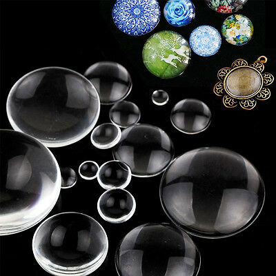100ps Transparent Crystal Round Flat Back Glass Cabochon Scrapbooking 8-58mm