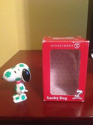 Department 56 Figurine Peanuts Snoopy Dog Statue - Lucky Shamrock - FREE SHIP