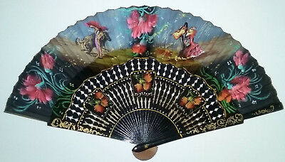 Vintage Folding HAND FAN Spanish Bullfight Dance Scene Handpainted Cloth