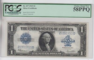 Silver Certificate $1 1923 PCGS Graded Choice about new 58PPQ
