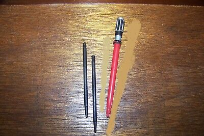 (3) Mini Plastic Stylus Pencils,1 Star Wars Red Light Saber & 2 Plain Black