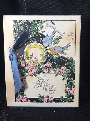 Antique Vintage Greeting Card~Bluebirds & Pink Roses Gorgeous 1920's