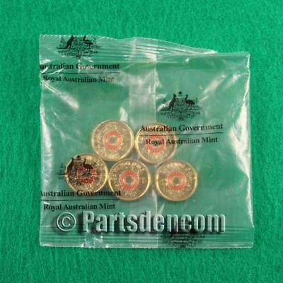 5 x 2015 $2 Two Dollar Red Coloured Lest We Forget Anzac day coin coins RAM bag