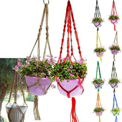 Hanging Planter Basket Jute Rope Braided Craft Pot Holder Macrame Plant Hanger