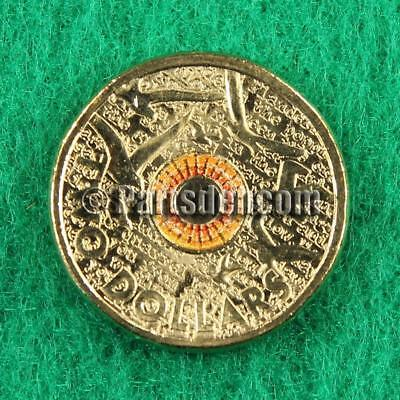 1 x 2015 Orange coloured $2 two dollar coin Remembrance Day unc cut from RAM bag