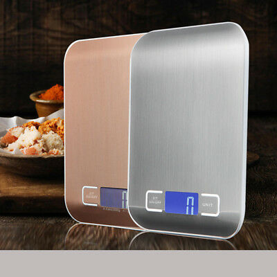 10/5kg Stainless Steel Digital LCD Electronic Kitchen Food Weighing Scales nf4q