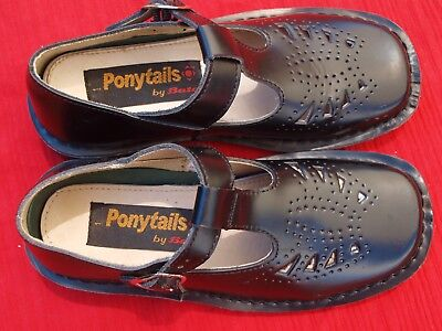 Bata Pony Tails Gorgeous Black Leather Girls Vintage Shoes. New. Sz : 1. Must C.