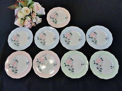 "9 Vintage Queen Anne English Bone China Side Plates ""Cherie"""