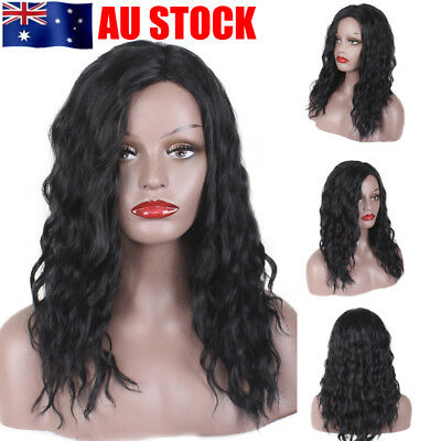 AU Womens Black Long Curly Chic Heat Resistant African American Afro Hair Wigs