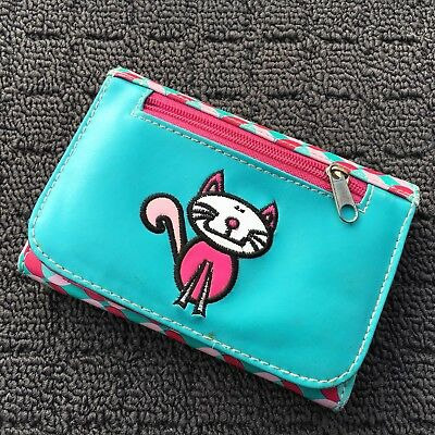 "KITTY CAT ""Blue & Pink"" Funky Fun Novelty Girls Wallet Trifold Money Purse"