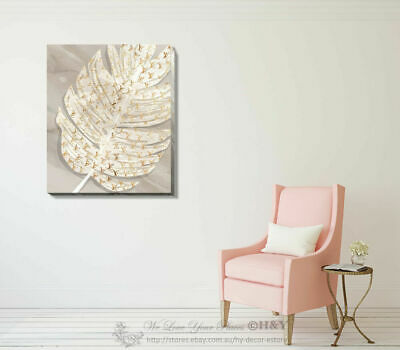 Golden Leave Fashion Stretched Canvas Print Framed Wall Home Office Shop Decor