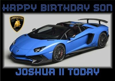 personalised birthday card Lamborghini sports car any name/age/relation/