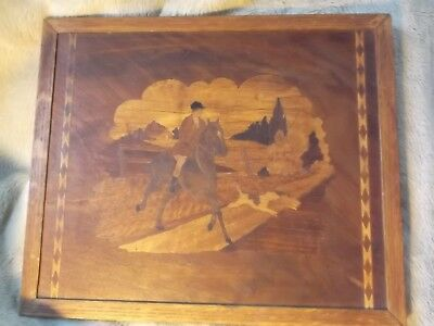 "Vintage Inlaid Wood Marquetry Fox Hunting Scene Horse Dogs 16.5"" x 13.5"""