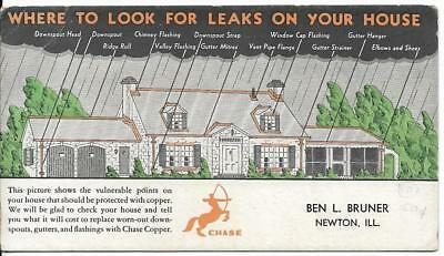Vintage Advertisement Ink Blotter -Chase Copper Flashings, Newton IL
