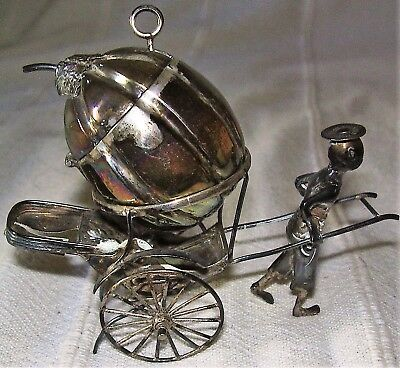 Chinese Silver Novelty Mustard Pot and Spoon on Rickshaw