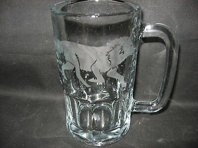 New Etched Wolf Glass Root Beer Mug
