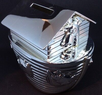 Silver Plated Noah Ark Bank, Christening Gift. WY5086.