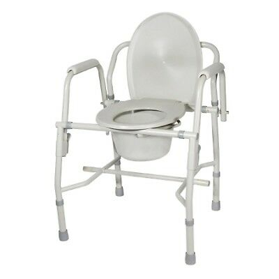 Knock Down Deluxe Steel Drop-Arm Commode, 23H x 19.5W x 19.75D in Seat - 2 Pack
