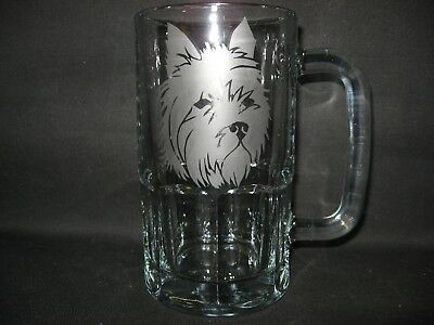 New Etched Cairn Terrier Glass Root Beer Mug