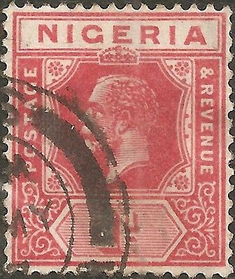 USED 1914 Red Carmine NIGERIA One 1 P. Stamp KING GEORGE V. British Colony