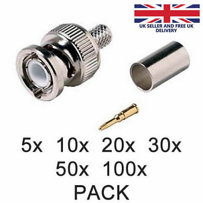 BNC Crimp Male RG59 Connector 3 in 1 Coaxial Cable RG59 Plugs CCTV Accessory UK