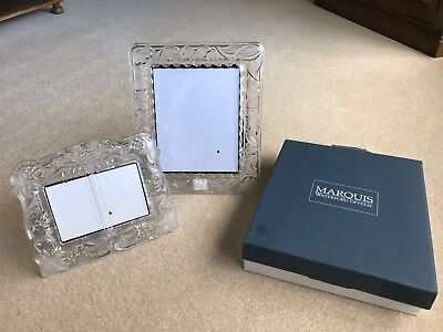"""Large Waterford Crystal Heavy Glass Photo Frame  15""""x13"""" & Smaller 10""""x8"""" Frame"""