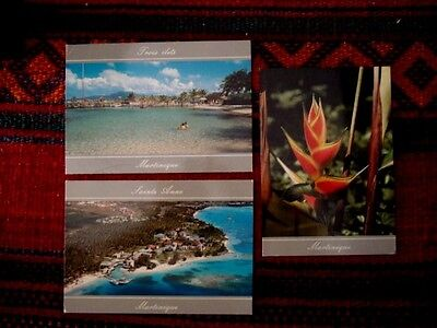 Vintage 3 OLD POSTCARDS Martinique Job of Lot 3 Pics new France