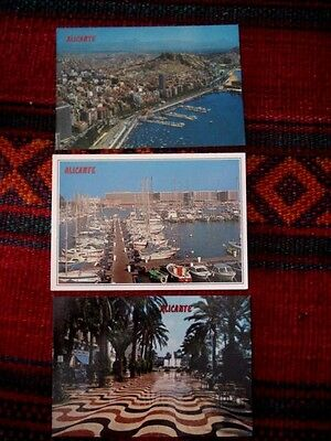 Vintage 3 OLD POSTCARDS Alicante Job of Lot 3 Pics new Spain