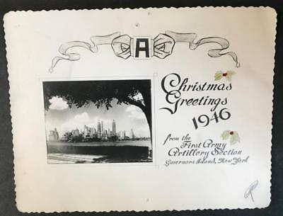 1946 Military Christmas card First Army Artillery Section Governors Island NY