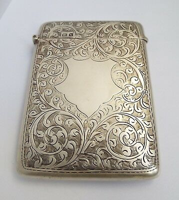 Beautiful Clean Decorative English Antique 1918 Solid Sterling Silver Card Case