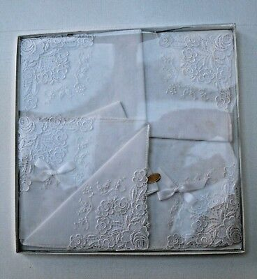 Vintage Box of 6 White Embroidered Swiss Hankies DL/729