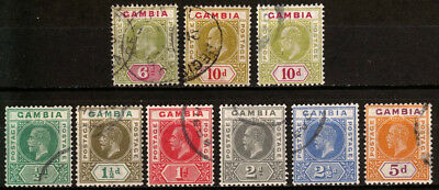 GAMBIA. Selection from 1906, 1909 and 1921-22, used. $200+