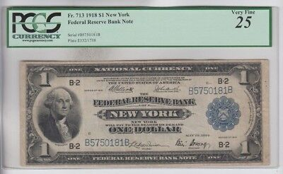 Federal Reserve Note FRBN $1 1918 PCGS Graded vf 25 comment minor rust stain