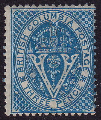 BRITISH COLUMBIA. QV 1865 3d blue, mint.