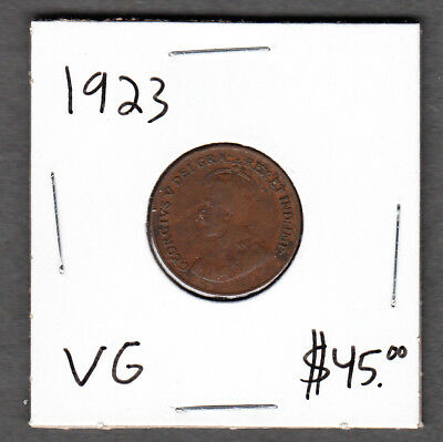 1923 Canada - 1 Cent - Very Good - Key Date Small Cent Coin - AA04