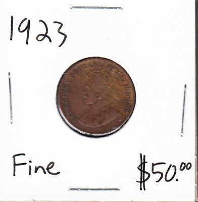 1923 Canada - 1 Cent - Fine - Key Date Small Cent Coin - AA07