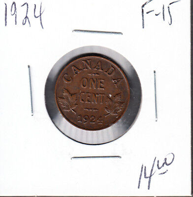 1924 Canada - 1 Cent - Fine/Very Fine- Key Date Small Cent Coin - AA09