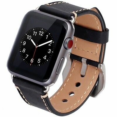 Vintage Genuine Leather Band for Apple Watch 42mm iWatch Series 1 2 3 Black New