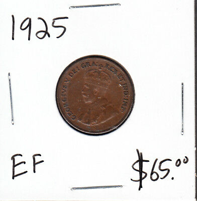 1925 Canada - 1 Cent - Extra Fine - Key Date Small Cent Coin - AA16