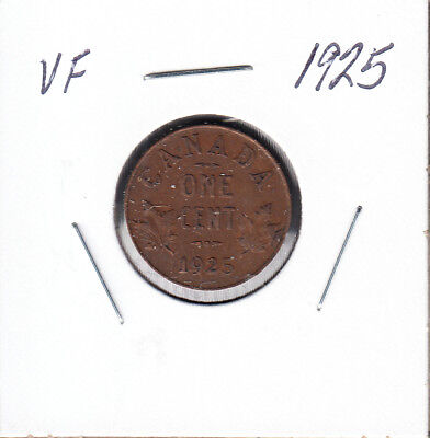 1925 Canada - 1 Cent - Very Fine - Key Date Small Cent Coin - AA15