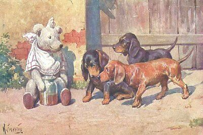 Doxie Puppy Dogs v/s Teddy Bear SIGNED  8 LARGE New Blank Christmas Note Cards