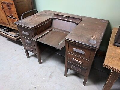 Antique Vintage Typewriter Oak Desk - Flip Top - ANTIQUE VINTAGE TYPEWRITER Oak Desk - Flip Top - $350.00 PicClick
