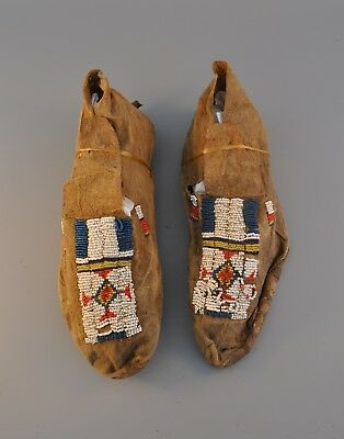 Old Arapaho Indian Beaded Hide Moccasins - Wind River Reservation Wyoming